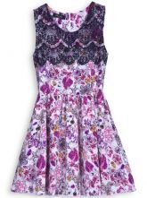 Pink Contrast Lace Sleeveless Floral Dress