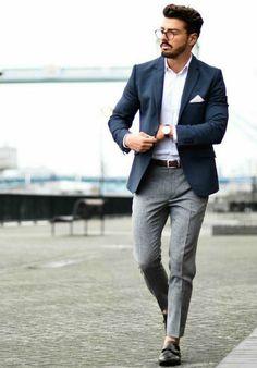 Mens Navy Blazer Grey Trousers Smart Style