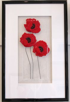 Poppies - Fused glass panel by Niven Glass Originals
