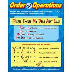 Trend Enterprises Order Of Operations Grade 4 - 8 Chart (Set of 3)