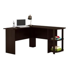 With its simple silhouette and classic L-shaped design, this writing desk is designed to let you work from home with ease. Made in the USA from practical manufactured wood, this piece features plenty of surface space, two open-frame shelves, and two conveniently built-in grommets for managing computer cords and cables. For a perfect home office arrangement, stock the shelves with reference books and files, and keep the desktop decluttered with wire basket organizers. Roll out a floral print…