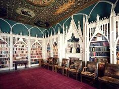 Library at Strawberry Hill, a Gothic Revival villa in Twickenham, London ~ built by Horace Walpole (beginning in Walpole wrote the first Gothic novel, The Castle of Otranto. ~Oh my, this is fairytale gorgeous Beautiful Library, Dream Library, Gothic Revival Architecture, Architecture Design, The Castle Of Otranto, Strawberry Hill House, Home Libraries, Gothic House, Victorian Homes