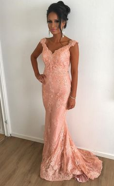 Fashion Coral Lace V-Neck Mermaid Evening Dresses#prom #promdress #dress #eveningdress #evening #fashion #love #shopping #art #dress #women #mermaid #SEXY #SexyGirl #PromDresses