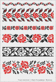 band knitting charts - 2 or 3 colors Beaded Cross Stitch, Cross Stitch Borders, Cross Stitch Rose, Cross Stitch Flowers, Cross Stitch Designs, Cross Stitching, Cross Stitch Embroidery, Embroidery Patterns, Cross Stitch Patterns