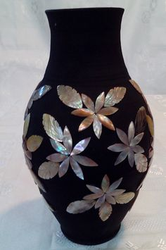 Clay vase decorated with flowers made of mother by AcapulcoDreams