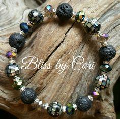 Lava Rock, Abalone Shell (Paua Shell) & Crystal Stretch Bracelet - *FREE SHIPPING* by BlissbyCori on Etsy $50.00