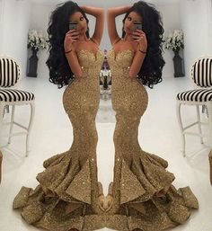 Cheap Price Luxurious Gold Sequined Mermaid Prom Dresses 2016 Spaghetti Straps Neck Draped Ruffles Formal Evening Dress