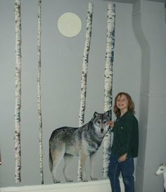life-size wolf and birch tree wall decals