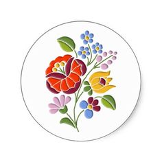 Kalocsa Embroidery - Hungarian Folk Art Stickers