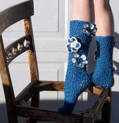 Teal flower crochet slipper socks by ValkinThreads on Etsy, $23.00