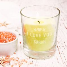 Personalised Votive Candle Holder - I Love You