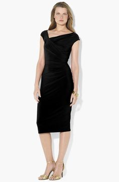 Lauren Ralph Lauren Asymmetrical Neck Jersey Sheath Dress available at #Nordstrom