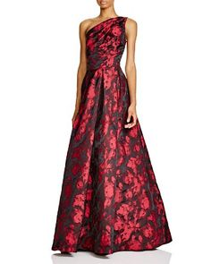 $Carmen Marc Valvo Infusion One-Shoulder Printed Gown - Bloomingdale's