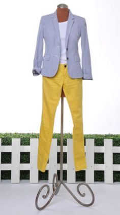Pair a stripe jacket, subtle and versatile, with a bright yellow jean.  Stripes can go retro as with the full pants featured above from BCBG.  Stripe jacket and t, J Crew, Yellow jeans, Target