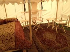 Hanging tent shelves  (Thank you, Marian Jasper!)