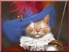 Анимация Кот в костюме мушкетера, со шпагой в лапе, герой мультфильма Кот в сапогах и мышь, сидящая у него на шляпе, гифка Кот в костюме мушкетера, со шпагой в лапе, герой мультфильма Кот в сапогах и мышь, сидящая у него на шляпе
