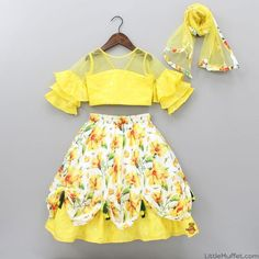 Pre Order: Yellow Ruffle Sleeve Top And Printed Ghagra With Dupatta Baby Girl Frocks, Baby Girl Party Dresses, Dresses Kids Girl, Kids Outfits, Kids Dress Wear, Kids Gown, Kids Party Frocks, Kids Frocks Design, Kids Lehanga Design