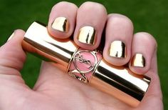 gold nails gold nails gold nails I want this nail polish anyone know where or what it is? Trendy Nails, Cute Nails, Hair And Nails, My Nails, Avon Nails, Wedding Day Nails, Golden Nails, Nailed It, Uñas Fashion