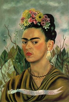 alexisboring:  frida kahlo- self portrait with thorn necklace Source: alexisboring