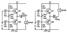 Alternative versions of the class-AB amplifier with a single-ended power supply.