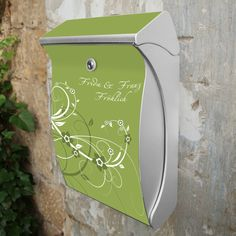 Silber Wunschtext Briefkasten Swing Grüne Blüten von banjado via dawanda.com