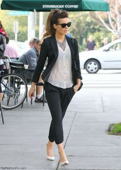 Kate Beckinsale relaxed casual tuxedo for women.