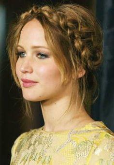 milkmaid braids with bangs