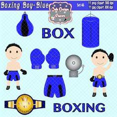 Niño Box Azul imagenes prediseñadas, imagenes niño boxing azul, boxing azul, box azul, scrapbook box, fiesta box, invitación box de CuteDesignPapers en Etsy