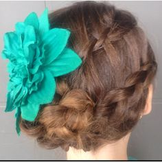 Waterfall and Dutch braid into braided bun