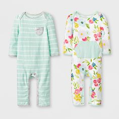 7b9a5dfd7 Baby Girls' 2pk Floral/Stripe Rompers - Cloud Island Green/Pink 6-9M, White