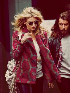 Patterned wool coats.