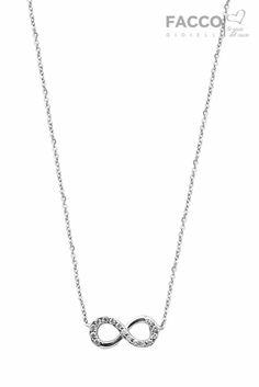 Collana donna, Facco Gioielli, in oro bianco 750‰, infinito con zirconi.