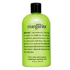 Philosophy: Senorita Margarita Shampoo, Shower Gel & Bubble Bath - oh this one is such a mood booster without the calories or the alcohol :) I love using this one as a shampoo in the summer because anytime I move my hair I smell margaritas! The 16 ounce bottle lasts ages - costs about $16. All of Philosophy's shower gels have lasting smells and can be used 3 ways - since I'm having a hard time finding pumpkin spice muffin, the boozer will have to do ;) you can order online or buy from…