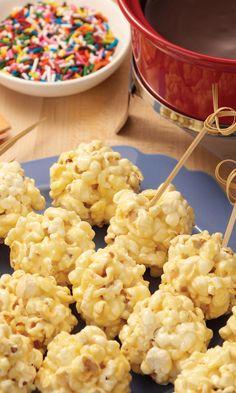 Award-worthy Mini Popcorn Balls with Chocolate Fondue provide a party-pleasing snack.