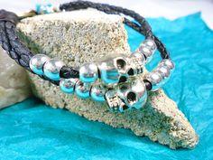 Memento mori bracelet double strand black braided by ScottysDesign