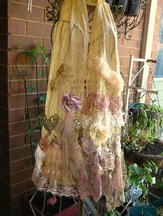 Tattered, romantic embellished lace scarf