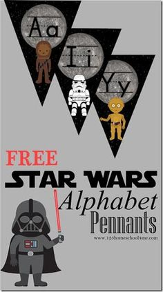 Star Wars Alphabet Pennants - Star Wars Printables - Ideas of Star Wars Printables - FREE Star Wars Alphabet Pennant toddler preschool prek kindergarten age kids will have fun learning their letters with these fun alphabet wall cards. Theme Star Wars, Star Wars Room, Star Wars Baby, Star Wars Classroom, Future Classroom, Classroom Themes, Space Classroom, Minecraft Classroom, Disney Classroom