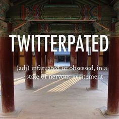 Twitterpated |ˈtwitərˌpātid|1940s North American origin: from twitter + -pated'having a head or mind of a specified kind' (from pate); popularized by the 1942 film Bambi #beautifulwords #wordoftheday #buddism #temple #Gyeongju #불국사 #Korea
