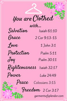 """Are you in need of a new spiritual wardrobe today? Tired of """"wearing"""" shame and the guilt of your sin on your shoulders? Trade in you """"old self"""" for Christ's new garments of righteousness, peace and joy!"""