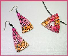 Free Polymer Clay Tutorial by artist Sherri Kellberg... premo! Curlique Pendant and Earrings |for  Polyform Products Company