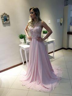 vestido madrinha rosa claro