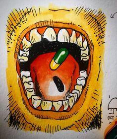 "Drops and bits on Instagram: ""Closing #inktober with a drawing after Katsuhiro Otomo's #kaneda #akira #pill #inktober2020 #moleskine #watercolor #noprompt"" Akira Pill, Katsuhiro Otomo, Moleskine, Inktober, Closer, Sketches, Drop, Watercolor, Drawings"