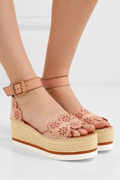 422a446e5c7 See By Chloé - Embroidered laser-cut suede and leather espadrille wedge  sandals