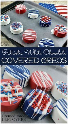 New Oreo Thins! Patriotic White Chocolate Covered Oreos- Red, white, and blue chocolate give these Oreos a patriotic touch. Serve them for Memorial Day or the of July! Patriotic Desserts, 4th Of July Desserts, Fourth Of July Food, 4th Of July Party, Holiday Desserts, Holiday Treats, July 4th, Holiday Recipes, Patriotic Party