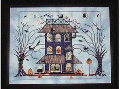 Black Cat Manor Haunted House Cross Praiseworthy Stitches Halloween Chart Large #Praiseworthystitches