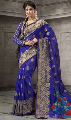 Get a captivating look wearing this blue color cotton printed saree. The block print work personifies the overall appearance. Upon request we can make round front/back neck and short 6 inches sleeves regular sari blouse also. #bluecolorsaree #cottonprintedsari #fancyprintedsarees