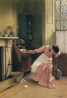 """'Recalling the Past"""" (1888). Carlton Alfred Smith (British, 1853-1946). Watercolour on paper.  Smith was a genre painter and watercolourist. He frequently painted cottage interiors that conveyed a romantic image of domestic life at the end of the 19th Century. Smith created a quality of light synonymous with strong sunshine."""