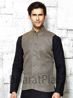 Dashing beige color jute nehru jacket high neck collar. Item Code: NJI4001LB