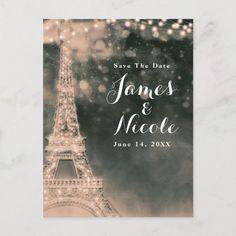 Night in Paris Eiffel Tower & Lights Save the Date Announcement Postcard | Zazzle.com Eiffel Tower Lights, Paris Eiffel Tower, Wedding Color Schemes, Wedding Colors, Bridal Shower Invitations, Birthday Invitations, School Events, Save The Date Postcards, Postcard Size