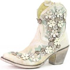 These booties are over the top. They have a beautiful light tobacco finish with. Comfortable Dress Shoes, Beautiful Lights, Cowgirl Boots, Studs, Booty, My Style, Heels, Floral, Accessories